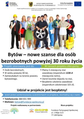 Bytów – nowe szanse dla osób bezrobotnych powyżej 30 roku życia